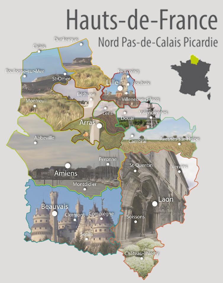Carte De Hauts Francen Avec Ses Diffrents Territoires Illustrs
